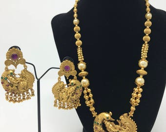 Temple Jewelry Set - Indian Jewelry Set - Indian Bridal Set - Antique Gold Jewelry Set - Bollywood Jewelry - Ganesh Jewelry - Kundan Jewelry