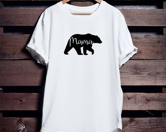 Mama Bear Crew Neck T-Shirt, Mama Bear T-Shirt, Mama Bear Shirt, Mum Bear, Made to Order, Bear Family Shirts