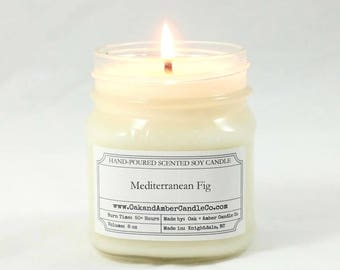 Mediterranean Fig Soy Candle | Scented Candle | Mason Jar| Unique Gift | Earthy and Sweet | Herbal and Fruity Candle | Bright and Balanced