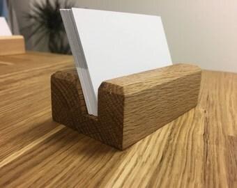 OAK Wood Business Card Holder - Wood Business Card Holder - Wood Business Card Display - Office Supplies - Walnut - Beech