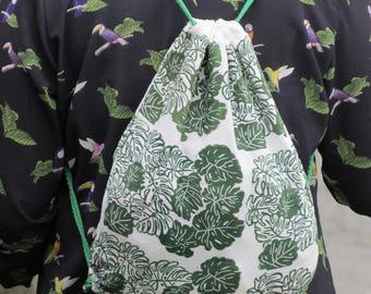 printed bag handmade with linocut linocut
