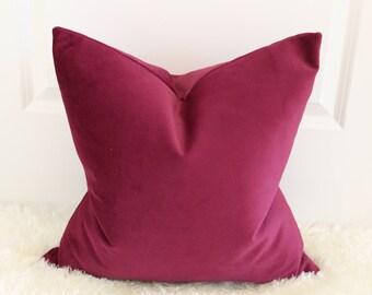 Merlot Plum Raspberry Decorative Throw Pillow Cover, Accent Pillow, Sofa Cushion, Throw Pillow, Velvet, Suede, Turkish Ultra Soft Luxury