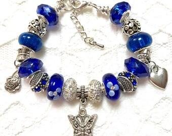 Butterfly Blue, European Style Charm Bracelet