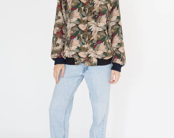 Vintage 90s Christmas Flower Bomber Jacket