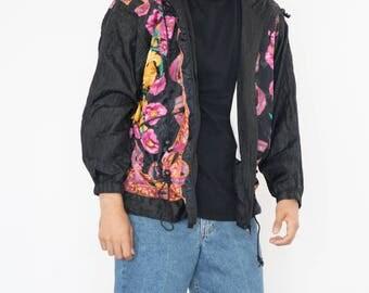 Vintage 90s Black and Pink Bomber Jacket