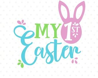 1st Easter SVG, Easter Shirt SVG, Easter svg Design, My First Easter svg, Easter cut file, Easter Iron on, Commercial dxf file