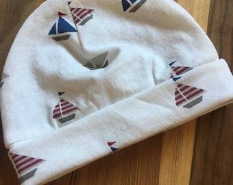 Baby Boy Sailboat Hat//Baby Hat