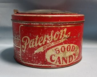 Rare Paterson Good Candy Tin with Glass Lid