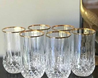 Vintage French Crystal Tumblers, Diamond Cut Glasses, Highball, Leaded Crystal Glasses, Vintage Glassware, Barware, Bar Cart, Mid Century