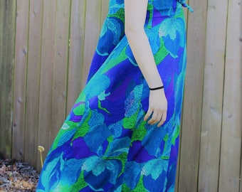60's Hawaiian Maxi Dress by MILDRED of HAWAII Blue Hibiscus Print Flowing Full Length Dress Size 10 Excellent Condition!