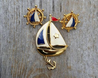 Avon Sailboat Brooch and Earrings Set