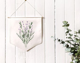 Fabric banner created from my lavender print / wall hanging decoration / flag / watercolor illustration / botanical art
