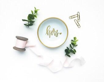 Hers Ring Dish | Wedding Gift | Trinket Dish | Ring Dish | Wedding | Personalized Ring Dish | Trinket Tray | Jewelry Dish |  Engagement Gift