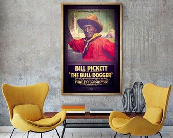 African American Art, Bill Pickett Cowboy, African American Poster, Black Artwork, Western Art