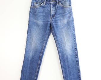 Vintage High Waist Jeans / 80's Lee Jeans / High Rise Distressed Denim Sz 32