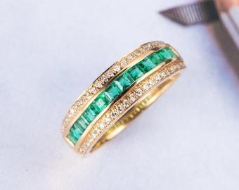 Emerald Wedding Band Yellow Gold Diamond Ring For Men Half Eternity Anniversary Gift Antique Vintage Bridal