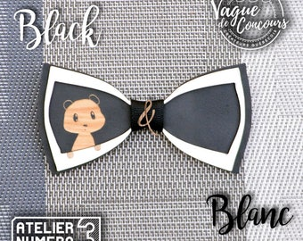 Crackers the panda, wooden bow tie, coloured, laser cut and engraved, custom, cute, animal, kids, contest wave, family, curious, black, cool