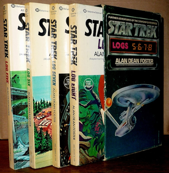 Star Trek Logs Five, Six, Seven, Eight (5, 6, 7, 8) by Alan Dean Foster - Four Book Set in Slipcase 1975 & 1976