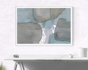 Blue & Grey Watercolour Abstract Art - Printable Digital Download, Wall Art, Home Decor