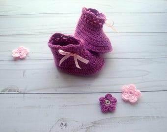 CROCHET BABY BOOTIES - Pattern Crochet Baby Booties- Crochet Pattern Baby Shoes- Crochet Baby Booties