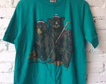 Vintage Yellowstone National Park Bear T-shirt / Size Large / 90s 1990s / Made in USA / Hiking / Camping