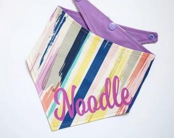 The Technicolor Dream - Personalised dog bandana - dog neckerchief- Rainbow - Lilac Bandana- Pet Neckwear