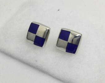 Mexican Sterling silver lapis lazuli inlay earring #17