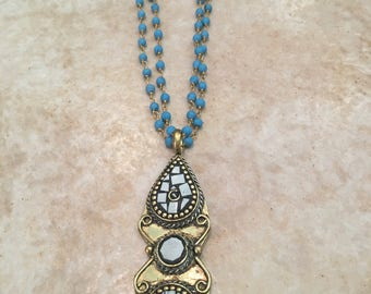Double Turquoise and Brass Rosary Chain with Tibetan Pearl and Brass Pendant
