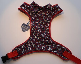 Handmade Strawberry Ditsy Floral adjustable Dog Harness with Bow in soft fabric, size S, M, L, XL and Custom- Free Postage