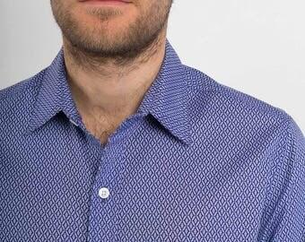 Mens 100% Cotton Long Sleeve Slim Fit Shirt Lilac Purple Print