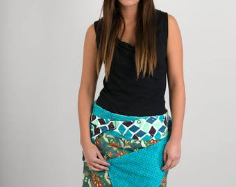 Reversible Cotton Skirt Green Floral Aquatic Blue Print Detachable Pocket Medium Length