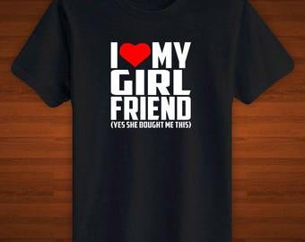 Boyfriend Gift I Love My Girlfriend Sweetheart Love Couples T-Shirt Top Tee Mens Teen Adult