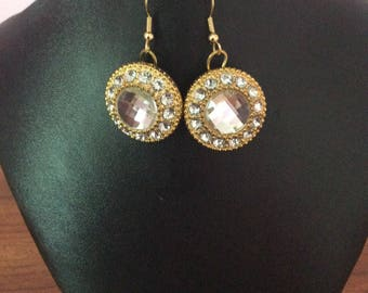 Gold crystal button earrings
