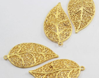 1 Pcs 20x40m Matt Gold Leaf Charms, Lamina Charms, Blossom Findings, Floral Pendants, Flower KBR206