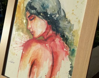 Original watercolor unique poetic gift woman
