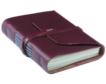 Leather Notepad А5 Burgundy Blue
