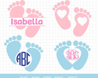 Baby Feet Svg Baby Feet Monogram Frames Svg Baby Feet Clipart Nursery Svg Baby Feet Silhouette Baby Footprint Svg Baby Shower Svg