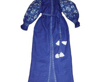 Embroidered Dress Embroidered Linen Boho Dress Long sleeve Kaftan Abaya Hijab Maxi Dress