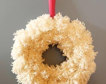 Wool yarn pompom wreath