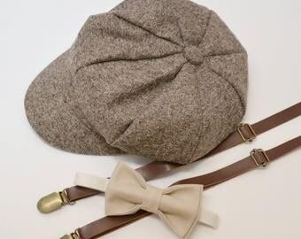 Bow Tie Suspenders Newsboy Taupe Brown Cap Hat / Champagne Tan Bow Tie / Brown Skinny Leather Suspenders Kids Baby Page Boy Set 2Y - 10Y