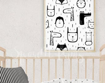Baby Room, Modern Nursery Art, 16X20 Print, Neutral Nursery Decor, Black and White Animal Print, Print Pattern, Cute Animals, Baby Wall Art