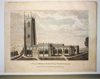 Original Engraving-View of St.Peters the Parish Church of TIVERTON Anno 1784, Engraved by Thomas.