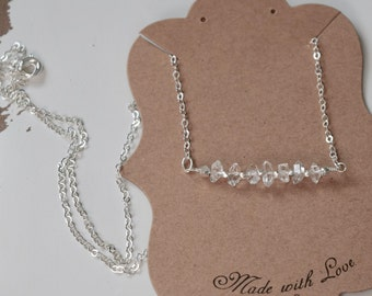 Herkimer Diamond Quartz Necklace~ Sterling Silver Necklace with Herkimer Diamond~ April Birthday's ~ Mother's Day Gifts