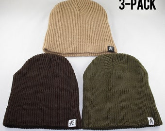 Stangl Bomb Logo Solid Knit Cuffless Beanie Hat (3-Pack)