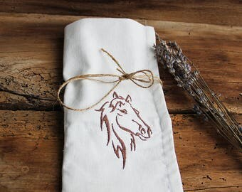Linen cutlery case, Horse canvas cutlery holder, Cutlery pocket, Farmhouse decor, Rustic Wedding party decor, Cutlery bags, Rollup picnic