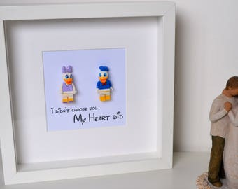Disney//Minifigure//Donald Duck//Daisy Duck//Gift//Shadow Box Frame//Personalise//Love//Wedding//Anniversary//Engagement//Birthday//Couple