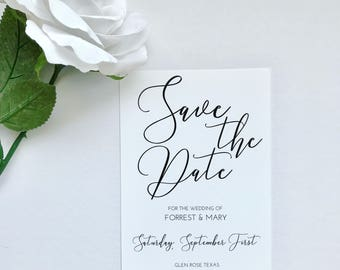 PRINTED Minimal Save The Date, Calligraphy Save The Date, Wedding Invitations, Minimalist Wedding, Save The Date