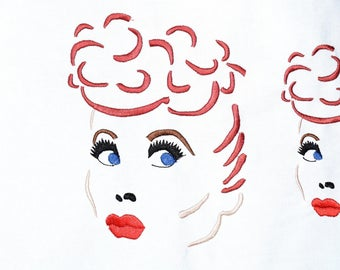 Instant Download: Lucy, Lucille Ball inspired Machine Embroidery Design 4 sizes