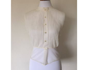 1940's Sheer Cream Nylon Pleated Sleeveless Button up Blouse