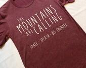 The Disney Mountains Are Calling Maroon-Disney Shirt-Disney Shirt Women Men-Splash Mountain-Space Mountain-Big Thunder-Disney Gift Under 30